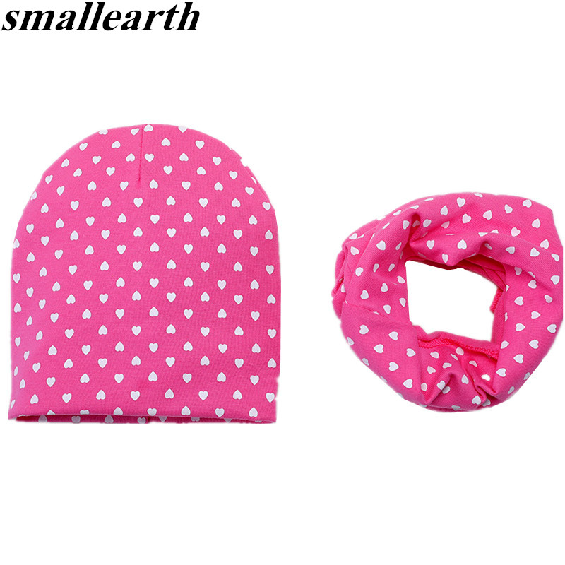 New Warm 2Pcs/Set Cotton Baby Hat Scarf Love Dot Print Children Caps Scarves Boys Girls Warm Beanie Collar Set Soft Kids Hat Set