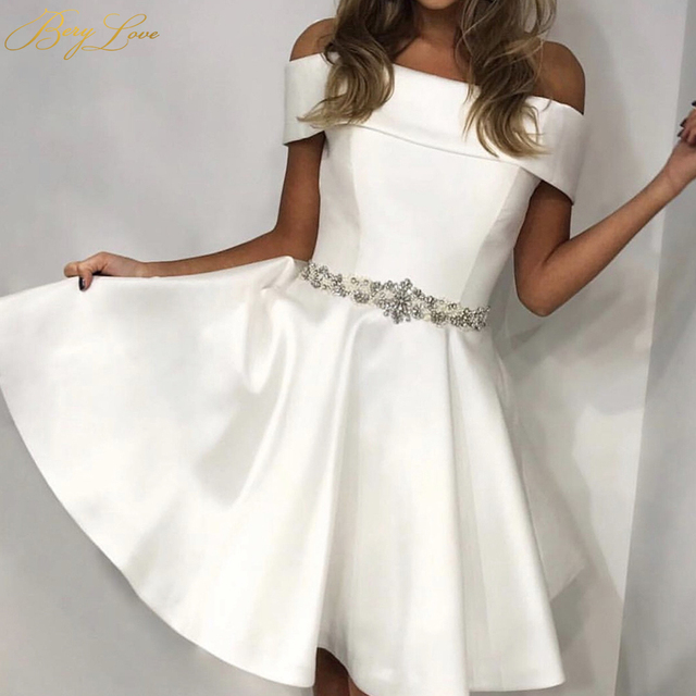 BeryLove  Ivory Short Prom Dresses 2019  Beading Crystal Bead Belt Sash Off the Shoulder Cover Shoulder Mini Length Short Gowns