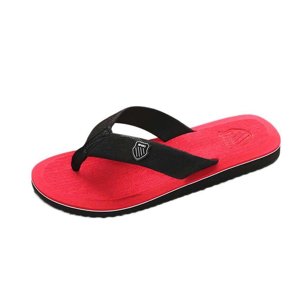 2019 yaz erkek Flip flop yüksek kalite plaj sandaletleri kaymaz erkek terlik Zapatos Hombre rahat ayakkabılar zapatos hombre 40- 44