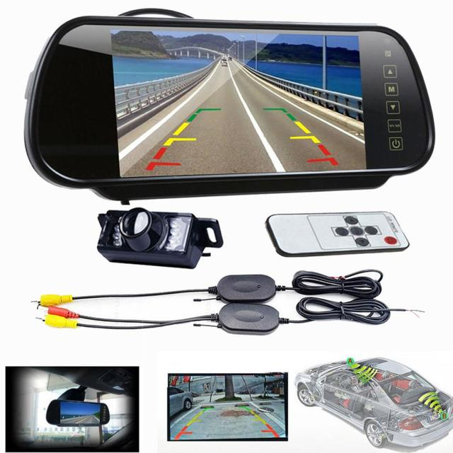 Nova Chegada 7 LCD Espelho Monitor + Wireless Car Reversa Vista Traseira Backup Câmera de Visão Noturna jn16