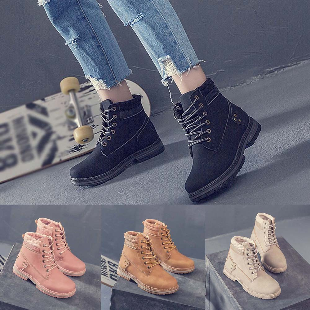 Women Boots Solid Lace Up Casual Ankle Boots Round Toe Shoes Student Snow Boots Classic Winter Warm Ladies Shoes T## 1