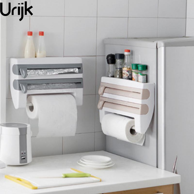 Urijk Multifunctional Wall Mounted Kitchen Cling Film Sauce Bottle Storage Rack Paper Towel Holder With Designed
