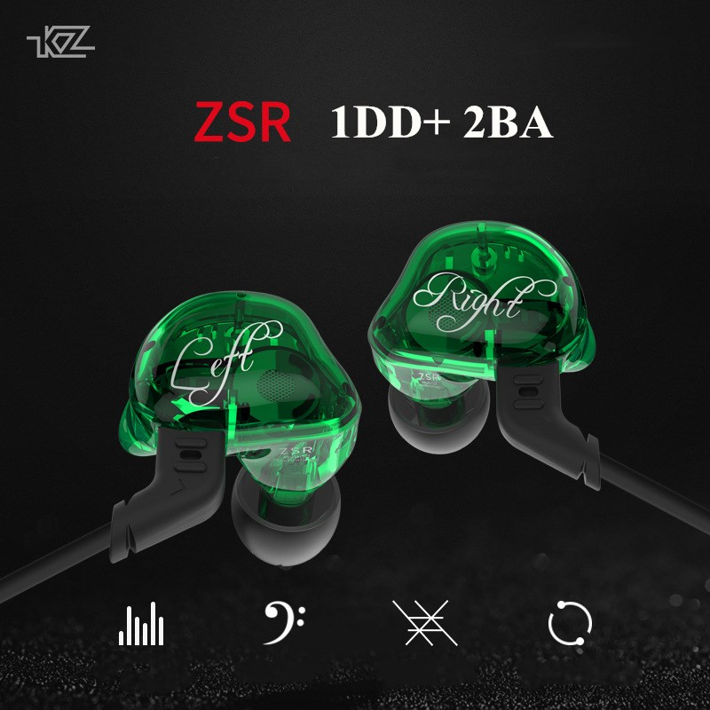 KZ ZSR Earphone 2BA+DD Hi F Hybrid Earbuds Armature With Dynamic In Ear HIFI Bass Headset Detachable Cable for Phone/Player/PC original kz zsr in ear earphone balanced armature with dynamic 2ba 1dd unit noise cancelling headset with mic earphone for phone