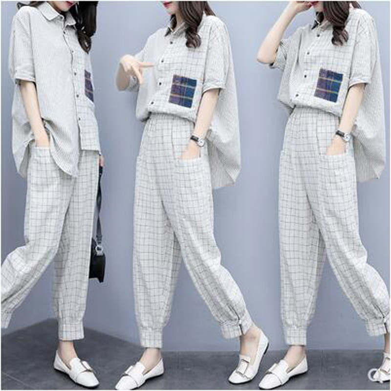 Plaid 2 Piece Set Outfits Women Fashion Festival Matching Co-ord Set Plus Size Top and Pant Suits 2019 Summer Designer Clothing