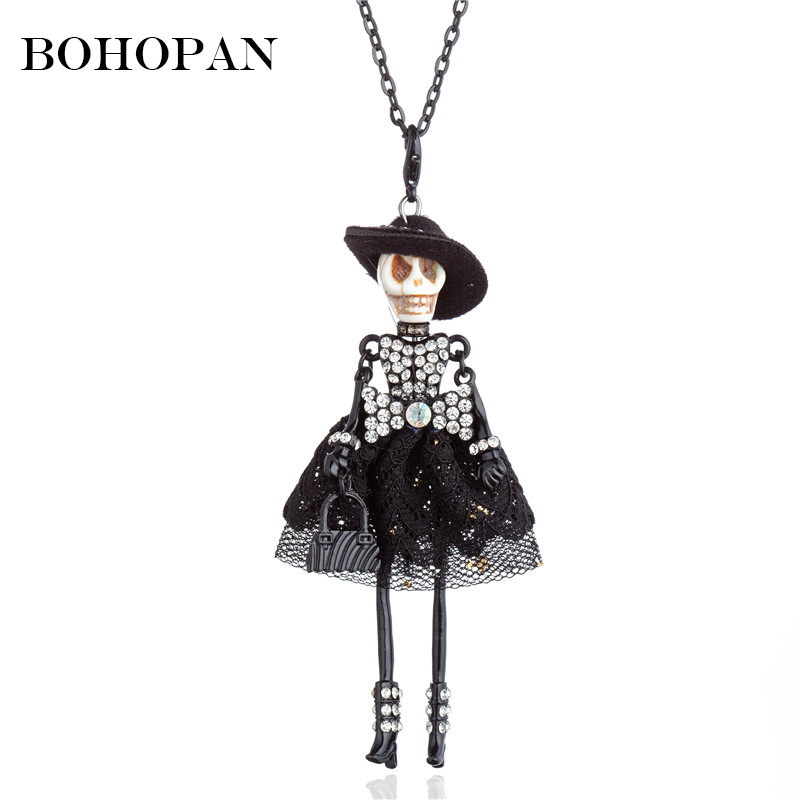 Terror Skull Figure Necklace Women Girl Crystal Bow Yarn Colour Dress Wear Hat Doll Pendant Necklace Halloween Gifts Jewelry