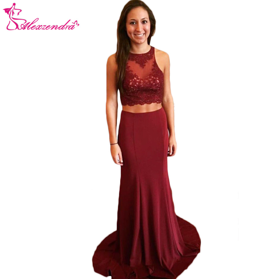 Alexzendra Burgundy Mermaid Two Pieces Prom Dresses Plus Size Chiffon Formal Evening Dresses Party Dress Customize