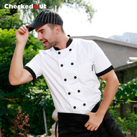 Top quality Cook suit short sleeve cook clothes male Checkedout chef jacket chef uniform working clothes