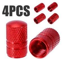 MAYITR 4PCS Universal Car Tire Valve Cap Aluminum Alloy Red Wheel Air Stem Cover Accessories