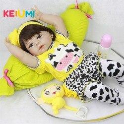 23 ''Lifelike Bonecas Reborn Bebês Boneca de Corpo Inteiro de Vinil Pele Branca Tão Verdadeiramente Modelo Boneca Da Menina Para A Criança presentes Brinquedo de bebe
