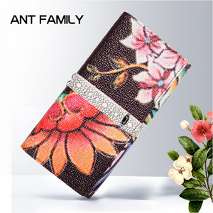 Image 3 - High Quality Genuine Leather Women Wallet Long Fashion Flower Purse Female Clutch Ladies Real Leather Wallet Big Capacity Wallet