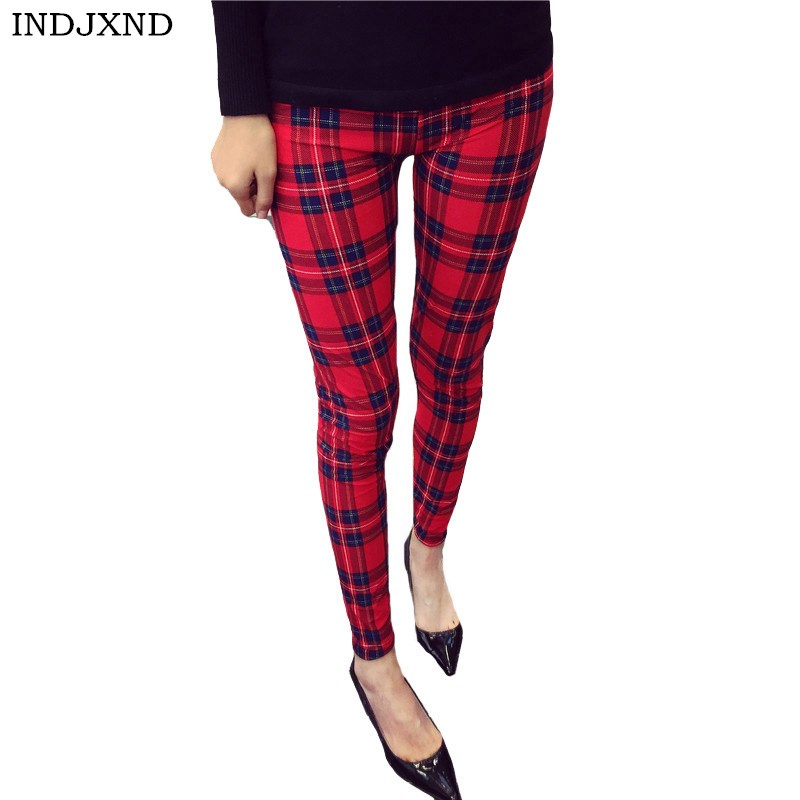INDJXND Women Fashion Legging Print Leggings Elastic Waist Legging Flower Plaid Pants Fashion Leggins Hot Sale Women Trousers