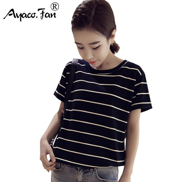 Camisetas de mujer para chicas estudiantes Harajuku verano nuevo suelto rayas Tops camisetas Casual mujer Kawaii ropa mujer camiseta