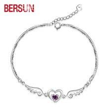 Bersun 2016 nueva moda 925 pulsera cristal de plata Women Fine Jewelry alas del ángel amor amatista en forma de corazón pulseras