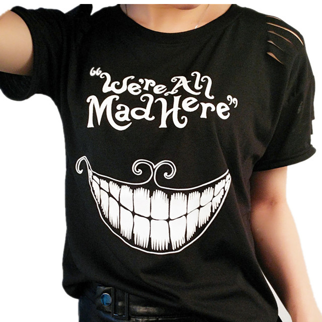 40b6339782a Black Kyliejenner Cat Print Female T-Shirt Alice in Wonderland We re All  Mad Here Funny T-shirts For Girl Summer Top