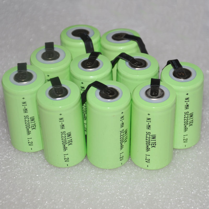 10-16PCS Sub C SC 1.2V rechargeable battery 2200mah ni-mh nimh cell with welding pins ta ...