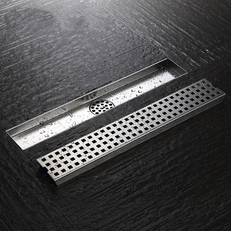 39.3 Inch 100cm Linear Shower Drain Channel with Removable Grate,Brushed Stainless