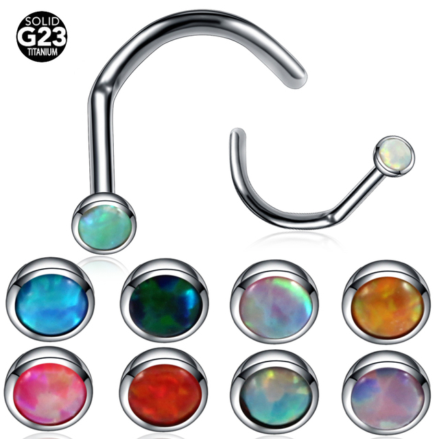 55ac389584c US $1.33 |1PC G23 Titanium Opal Stone Nostril Piercing Nariz Nose Piercing  Nariz Nostril Ring Nose Stud Nose Earring Body Piercing Jewelry-in Body ...