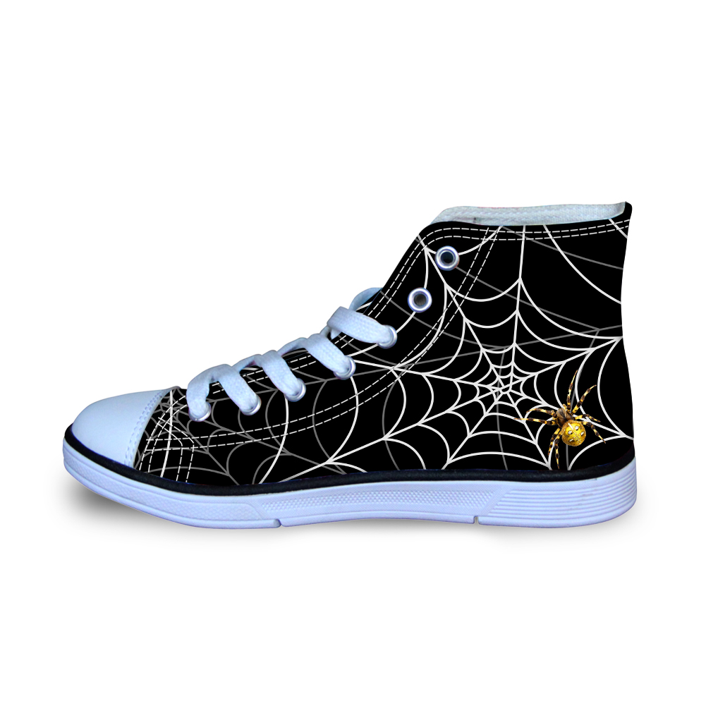 Size 29-34 Black Spider Net Canvas Shoes Ultralight High Top Lace Up Flats Men Boys Sneakers for School Student Teenager Loafers