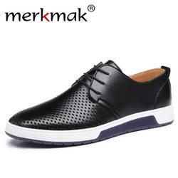 Merkmak/Новинка 2018 г. мужская повседневная обувь кожаные летние дышащие отверстия Роскошные брендовые туфли на плоской подошве для мужчин
