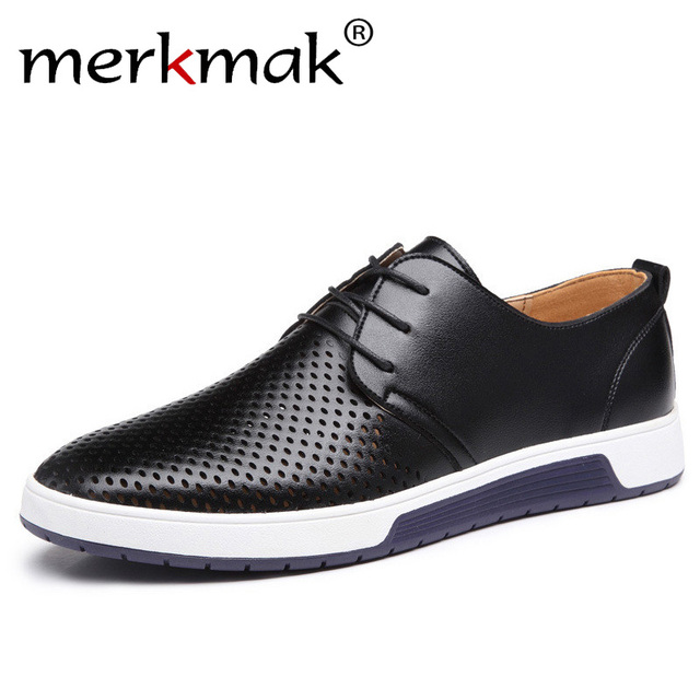 Merkmak New 2019 Men Casual Shoes Leather Summer Breathable Holes Luxurious Brand Flat Shoes for Men Drop Shipping