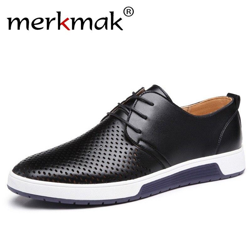 Merkmak Novo 2019 Homens Casual Sapatos de Couro Marca de Luxo de Verão Buracos Respirável Sapatos Baixos para Os Homens o Transporte Da Gota