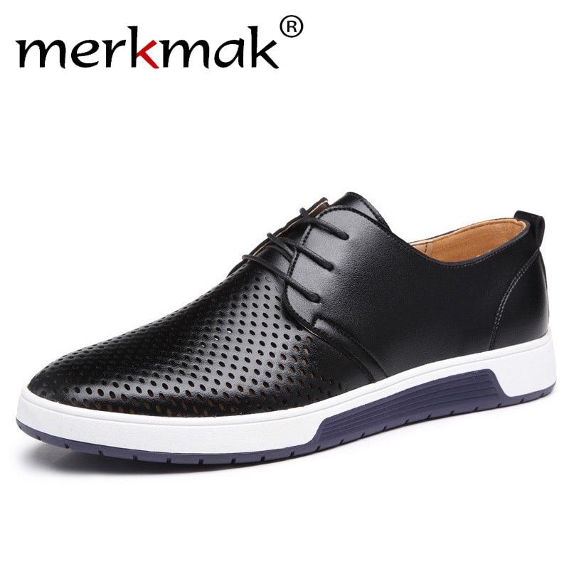 Merkmak Nuevo 2018 zapatos casuales de los hombres de verano de cuero de agujeros respirables de marca de lujo zapatos planos para hombres envío de la gota