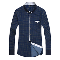 2015 Autumn Printed Men Shirt Long Sleeve Male Business Casual Fashion Formal Dress Shirts Slim Fit