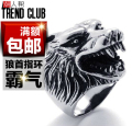 High quality Punk Vintage animal Wolf head rings 316L Titanium steel Rock gothic men Finger Ring Fashion Jewelry bijouterie 2014
