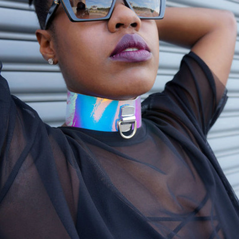 Oversized BDSM Punk Gothic 100% Handmade Choker Silver Holographic Laser Collar Rainbow Cosplay Holo Necklace