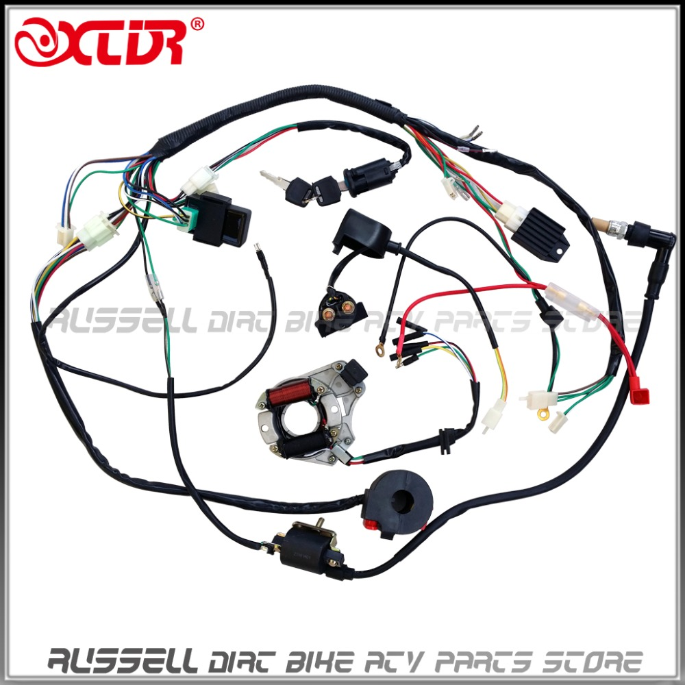 110cc atv parts full electrics wiring harness cdi coil 110cc quad bike buggy gokart parts accerssories [ 1000 x 1000 Pixel ]
