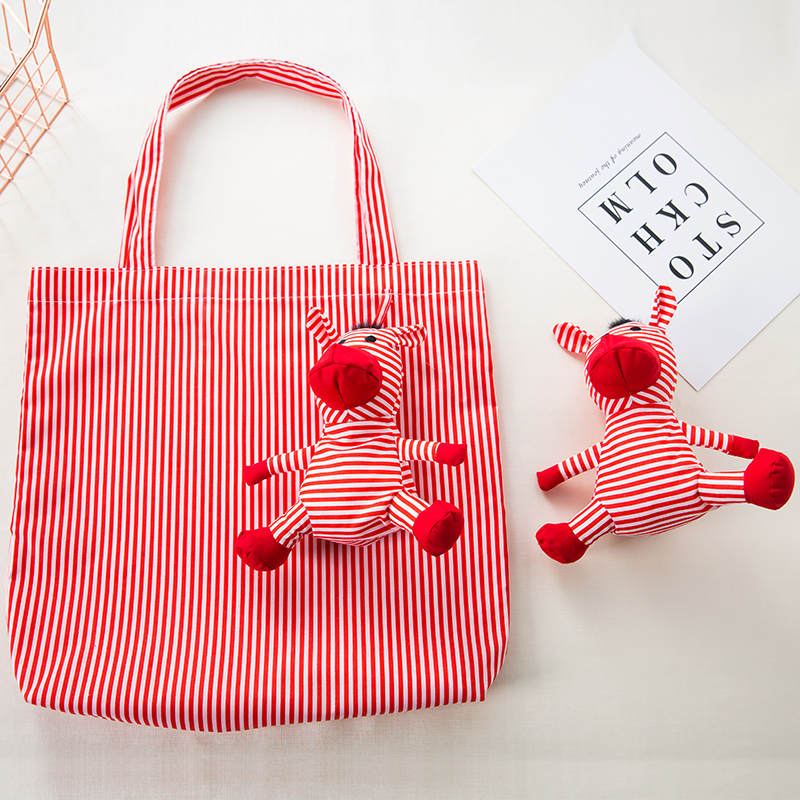 Cotton filling Zebra Shopping Bag Eco Reusable Tote Bag Portable Shoulder Bag Good High quality animal bags in Shopping Bags from Luggage Bags