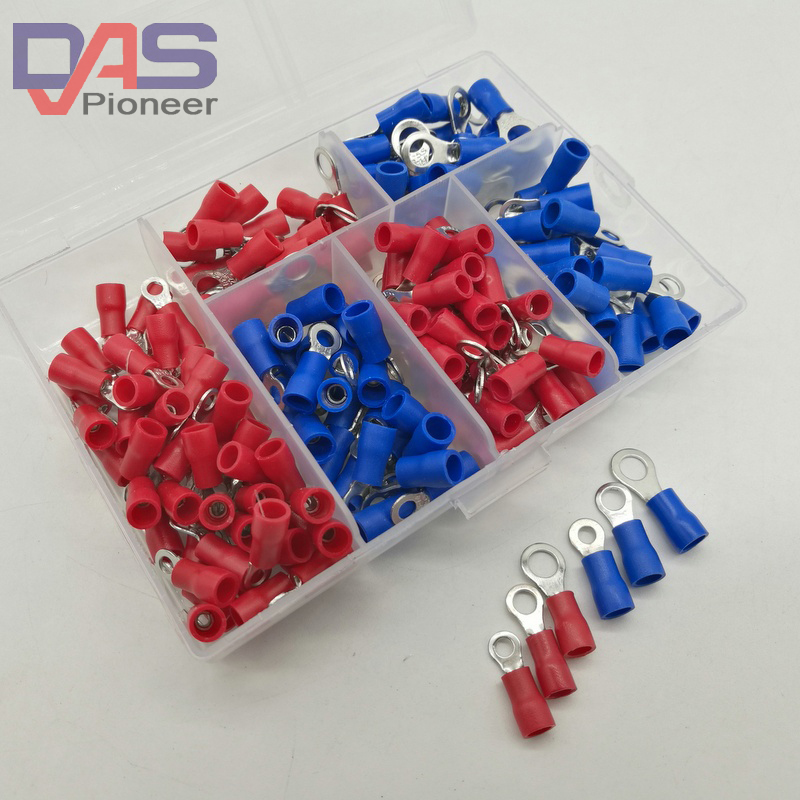 190pcs 6sizes  RV Crimp Terminal Ring connector kit   Wire Copper Crimp Connector Insulated Cord Pin End Terminal 190pcs lot 6 different crimp terminal ring connector kit set wire copper crimp connector insulated cord pin end terminal