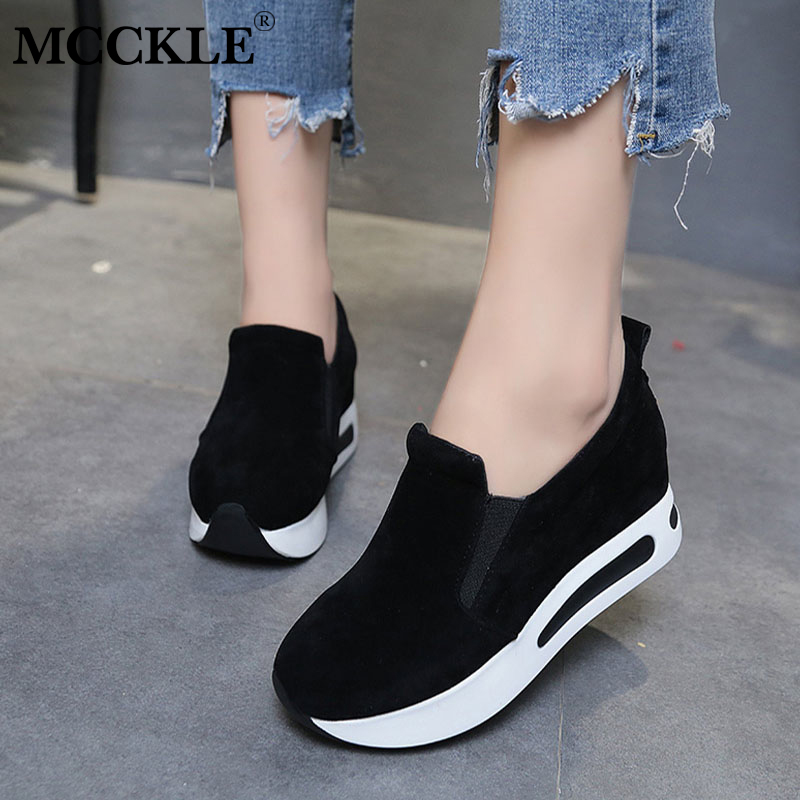 MCCKLE Women Casual Flat Platform Sneakers Autumn Elastic Band Shoes Female Breathable Creepers Footwear Woman Slimming Flats forudesigns 2018 hot sale horse design flat platform shoes women autumn casual female slimming swing shoes shaps ups woman