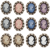 Factory Directly Wholesale 12 Pieces Pack Vintage Style Cameo Brooch Pins In 6 Assorted Color FREE