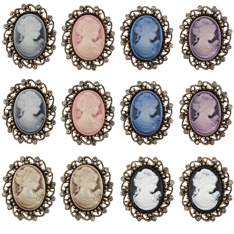 Custom Cameo Resin Pins Diy: Wholesale Pack Of 12 Pieces Mixed Colors Vintage Style