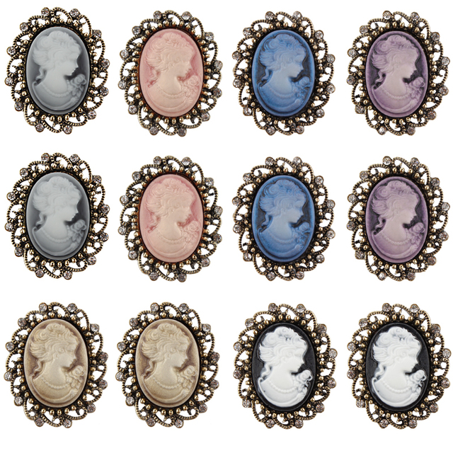 Wholesale Pack of 12 Pieces Mixed Colors Vintage Style Cameo Resin Brooch Pins in Antique Gold Color Plated