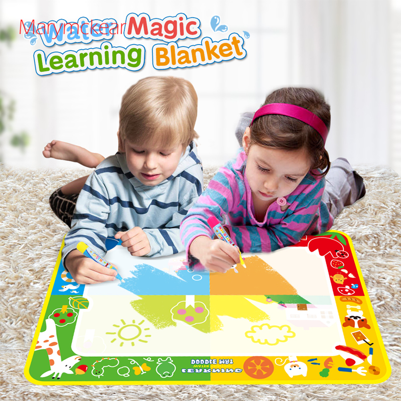 US $10.25 50% OFF 100x70cm Kids Magical Water Painting Mat Learning Blanket  for 2 Kids Doodle Rug No Mess Children Coloring Toy with Water Pen-in ...