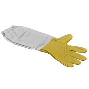 Image 2 - Перчатки для пчеловодства, защитные рукава, проветриваемые профессиональные перчатки из овчины и парусины для пчеловодства