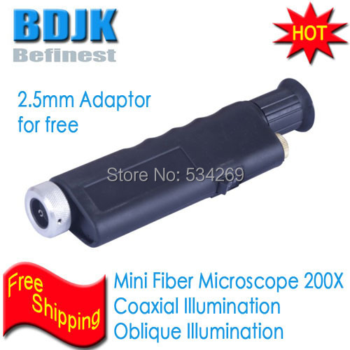 200X Mini Optical Inspection Fiber Magnifier with Dual Illumination Coaxial and Oblique Including 2.5mm Adaptor hand held anti slip fiber optical microscope 200x magnification cl inspection led illumination built in ir filter