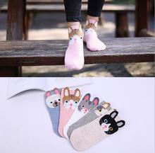 5 Pair Fashion Cat Dog Deer Animal Street Socks Women Cute Simple Fresh Female Sock Casual ankle cotton boat sock slippers цены