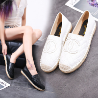 2019 Fashion Designer Patchwork Espadrilles Shoes Woman Genuine Leather Creepers Flats Ladies Loafers White Leather Moccasins