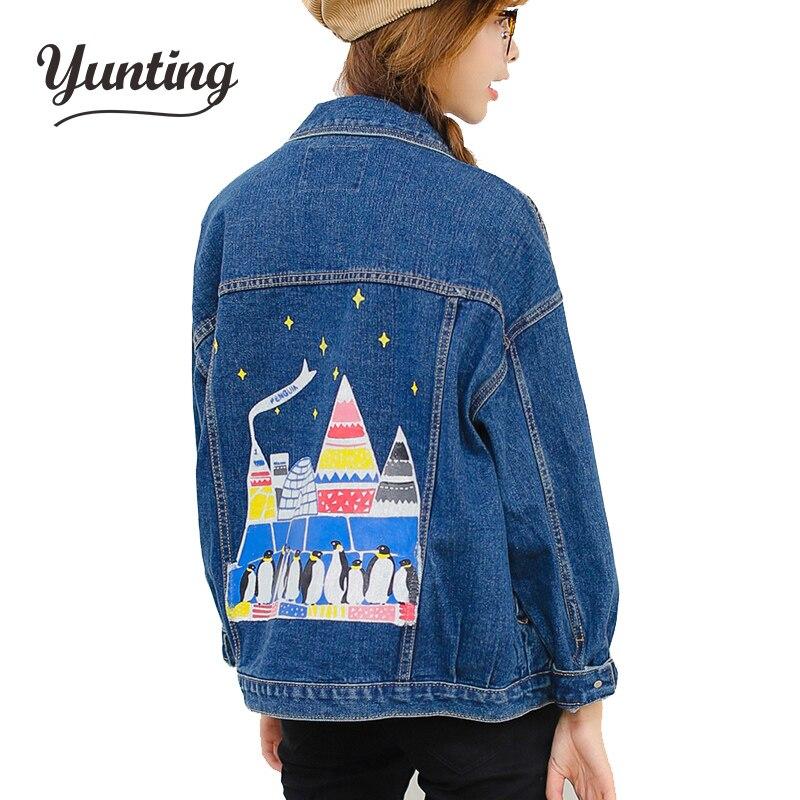 Fashion cartoon penguin print jeans jackets women oversized Boyfriend style denim jacket punk chaquetas mujer vintage Coat