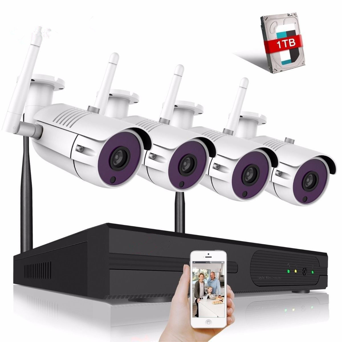 Full HD 1080P 4CH Wireless NVR CCTV Security System 2.0MP IP Camera 1080P Wifi Network outdoor Surveillance kit full hd 1080p 8ch wireless nvr cctv security system 2 0mp ip camera 1080p wifi network outdoor surveillance kit