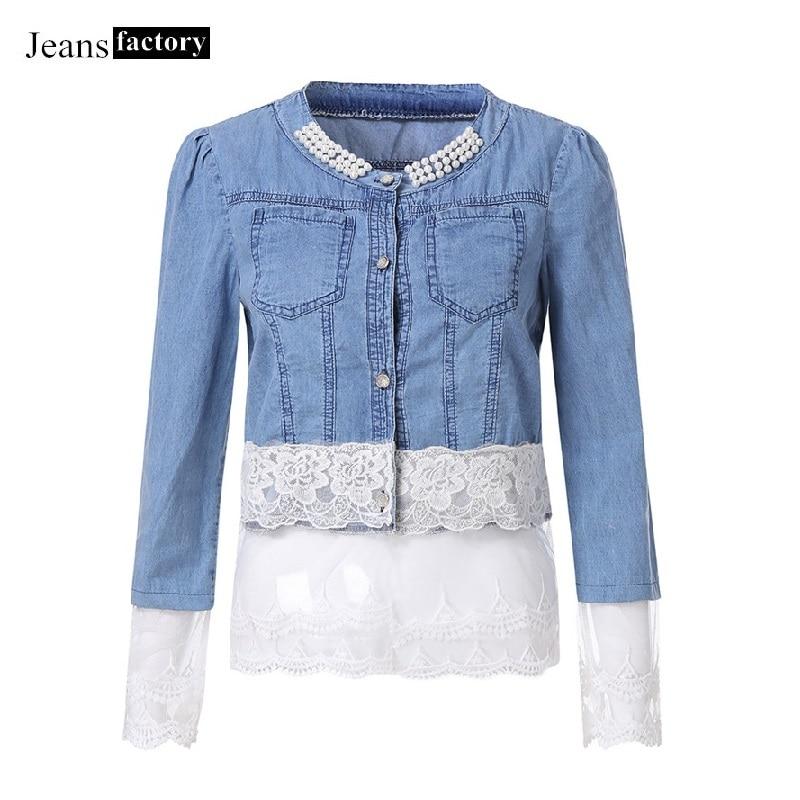New Arrival Lace Patchwork Denim   Jacket   Women Slim Jeans Coat Casual Female   Basic     Jackets   Oversized Trend design Summer big 2019
