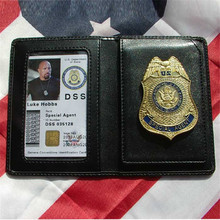 Movie The Fast and the Furious Metal DSS Badge Pin & ID Cards Genuine Leather Case Holder Wallet 1:1 Gift Cosplay Collection