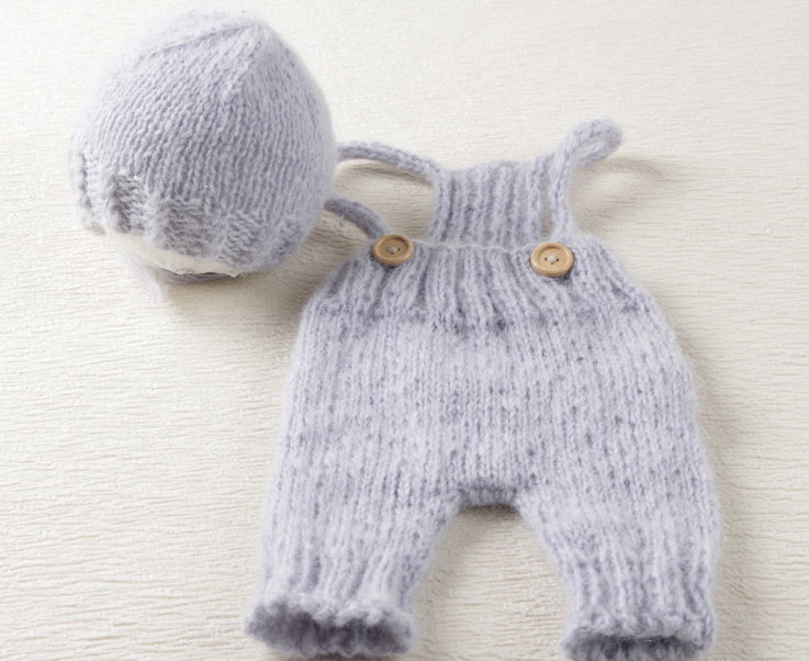 Crochet mohair baby bonnet and romper set. Photography Props. Baby Crochet Mohair Hat