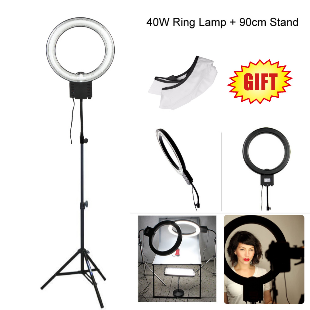 Studio 34cm 40W 5400K Video Ring Light with 90cm Tripod Stand for Photography Camera Phone Photo Make Up Selfie Lighting(RU) цена
