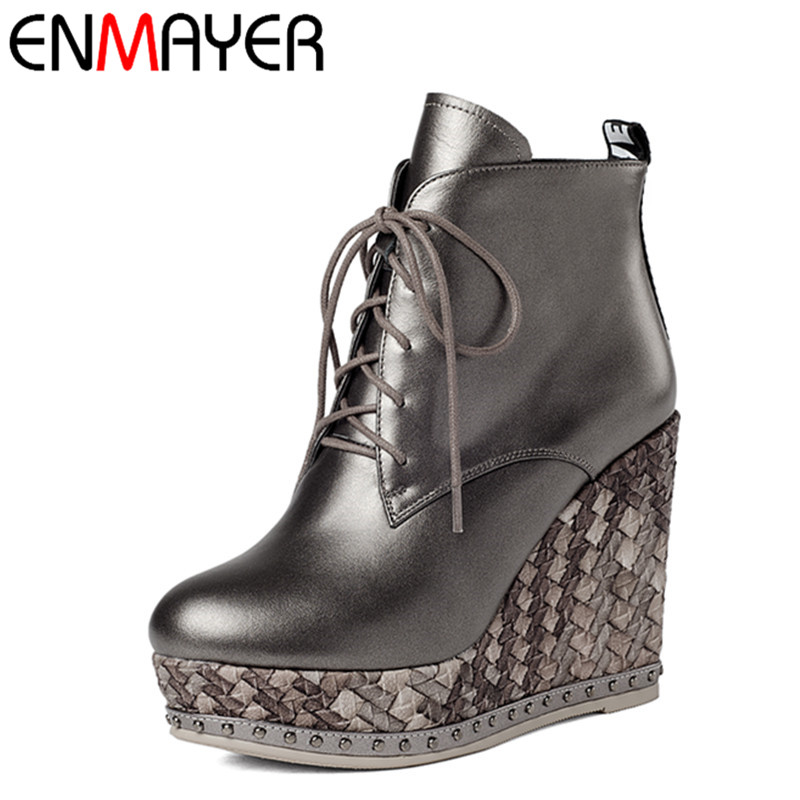 все цены на  ENMAYER Lace-up Mew Ankle Boots for Women High Heels Wedges Size 34-39 Round Toe Autumn and Winter Boots Platform Shoes Riding  в интернете