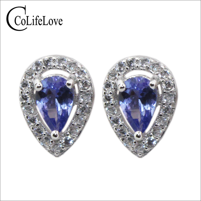 Clic Silver Tanzanite Jewelry 4 Mm 6 Natural Pear Cut Stud Earrings Solid