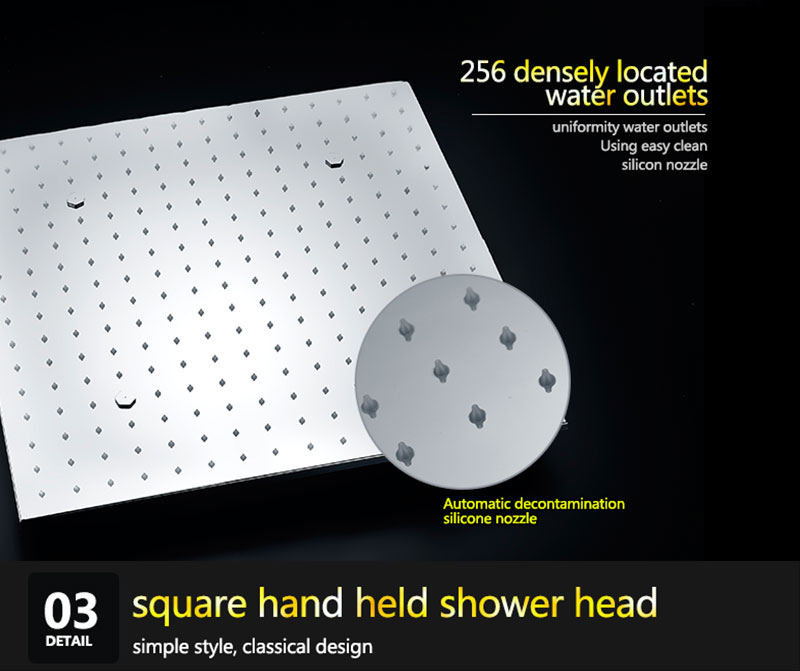 SPA Big Rain Shower Faucets Modern Shower Ceiling 20\'\' Showerheads Panel 304 Stainless Steel Shower Set & Bath Shower Mixer (22)